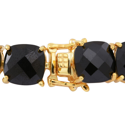 Boi Ploi Black Spinel (Cush) Bracelet (Size 7.5) in 14K Gold Overlay Sterling Silver 100.000 Ct.