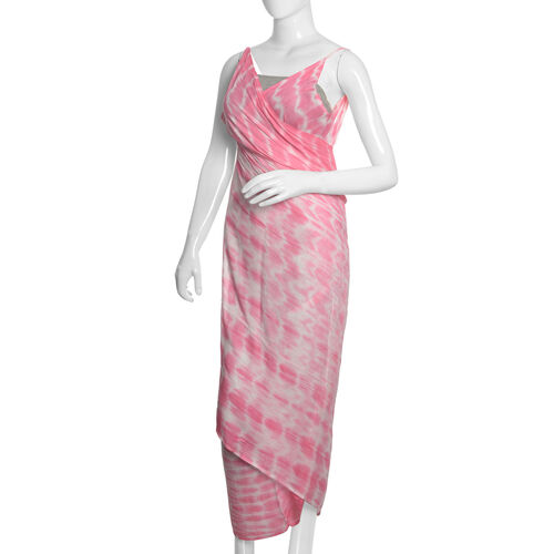 Pink and White Colour Shibori Printed Sarong (Free Size)