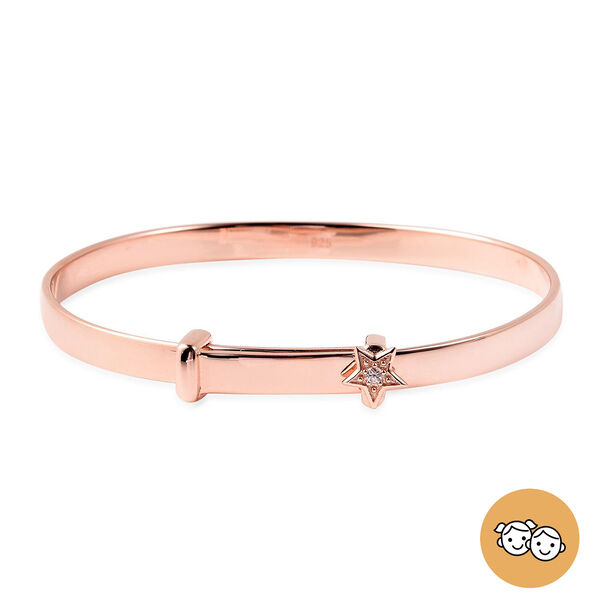 Natural Cambodian Zircon Adjustable Star Bangle in Rose Gold Overlay Sterling Silver (Size 5), Silve
