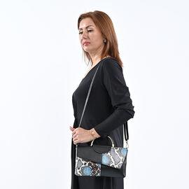 Sencillez Collection Genuine Leather Snake Print Bag (Size 28x3x17cm) - Black & Blue