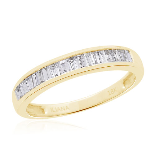 ILIANA 18K Yellow Gold IGI Certified Diamond (Bgt) (SI/G-H) Ring 1.000 Ct.