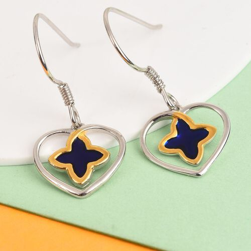 Platinum and Yellow Gold Overlay Sterling Silver Enamelled Hook Earrings
