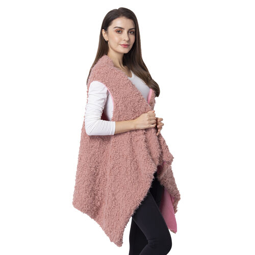 Designer Inspired-Dusky Rose Colour Faux Fur Gilet (Size 155x75 Cm)
