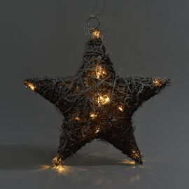 Rattan Star with LED light with hanger, 15 LED warming light -  colour white - batteries:2XAA(not in