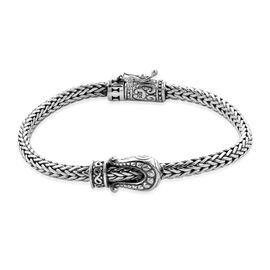Royal Bali Collection - Sterling Silver Tulang Naga Buckle Bracelet (Size 7.5), Silver wt 28.00 Gms