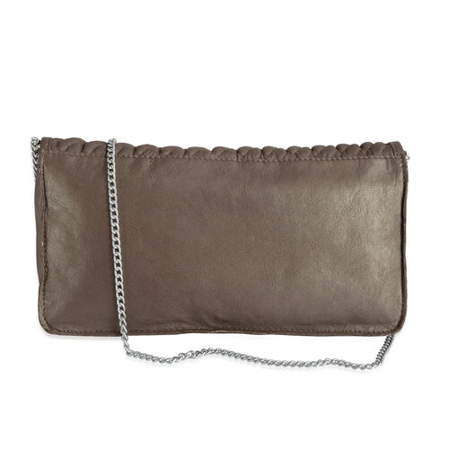 100% Genuine Leather Brown Colour Sling Bag with Chain Strap (Size 27x13x4 Cm)