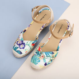 LA MAREY brand high heel espadrilles shoes; Esparto rope sole is the defining characteristic of an espadrille; White base with floral pattern on top adds appeal; Floral pattern is suitable for every s