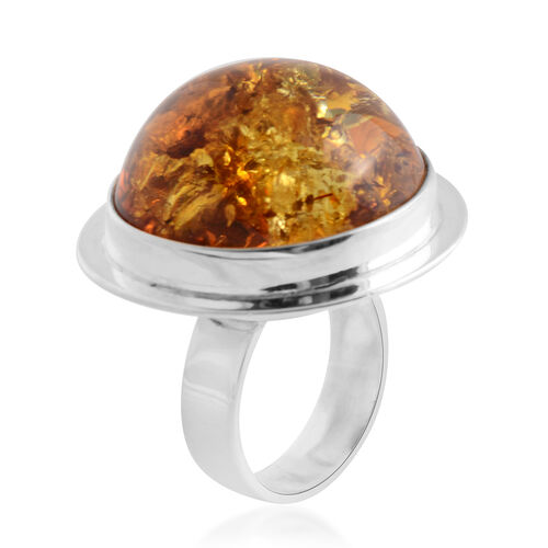 Baltic Amber Ring in Sterling Silver, Silver wt 11.50 Gms