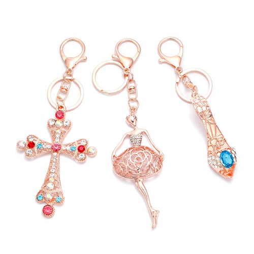 Set of 3 - Simulated Blue Topaz and Multi Gemstone Cross, Ballerina and Heel Keychains in Rose Gold