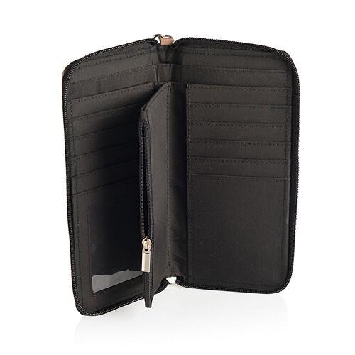 100% Genuine Leather Camel Colour Diamond Pattern RFID Blocker Women Wallet (Size 22x10 Cm)