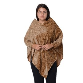Leopard Pattern Winter Free Size Poncho (L-85 Cm) - Yellow Brown