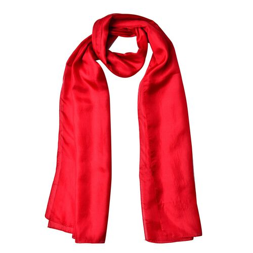 Pantone Collection - 100% Mulberry Silk Red Colour Scarf (Size 175X90 Cm)