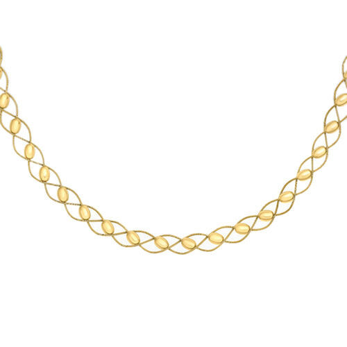 High Finish 16 Inch Long Ball and Woven Wire Omega Necklace in 9K Gold