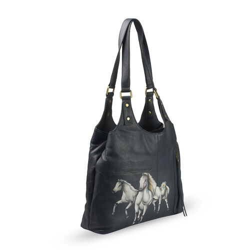 Genuine Leather Grey and Multi Colour Hand Painted Horse Design Shoulder Bag (Size 41X30X9 Cm)