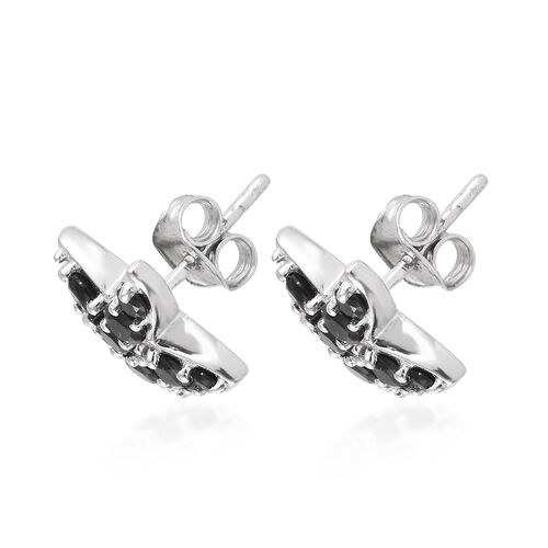 Boi Ploi Black Spinel (Rnd) Star Fish Earrings (with Push Back) in Platinum Overlay Sterling Silver 2.000 Ct.
