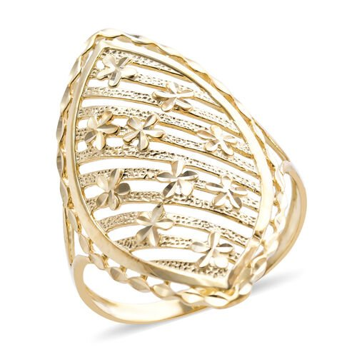 Royal Bali Collection Diamond Cut Floral Ring in 9K Yellow Gold