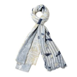 Grey and Multi Colour Bird and Leaf Pattern Scarf (88.9x177.8 Cm)