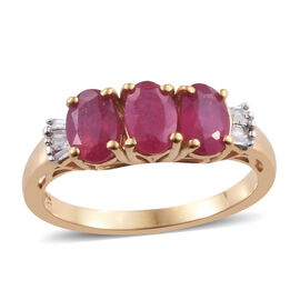 African Ruby (Ovl 6x4 mm), Diamond Ring in 14K Gold Overlay Sterling Silver 2.150 Ct.