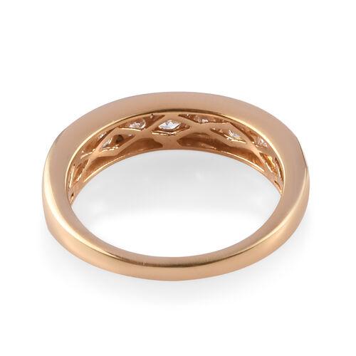 J Francis - 14K Gold Overlay Sterling Silver (Rnd) Half Eternity Band Ring Made with SWAROVSKI ZIRCONIA