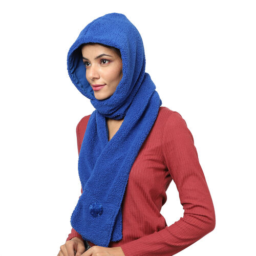 Winter Warm Soft Sherpa Hooded Scarf with Magnetic Button (Size Hood 27x30 Cm; Scarf 15x90 Cm) - Blue