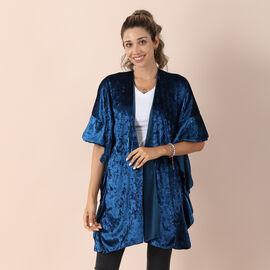 Velvet Kimono with Falbala Sleeve - Royal Blue