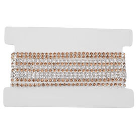 Set of 4 White and Champagne Colour Austrian Crystal Adjustable Tennis Bracelet 6 to 9.5 Inch