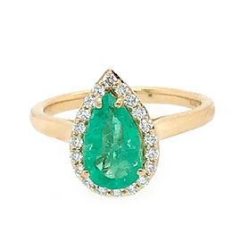 ILIANA 18K Yellow Gold AAA Boyaca Colombian Emerald (Pear 10.46x6.2mm), Diamond (SI/G-H) Ring 1.60 C