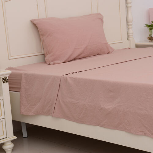 Single Size Sheet Set of 3- Extremely Soft Stone Washed Dusky Rose Colour Fitted Sheet (190x90x30 Cm), Flat Sheet (260x180+5 Cm) and Pillow Case (75x50+5 Cm)