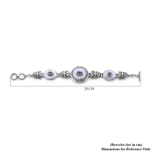 Royal Bali Collection - Mother Of Pearl and Ratankiri Blue Zircon Bracelet (Size 7 with 0.5 inch Ext.) in Sterling Silver 3.40 Ct, Silver wt. 30.20 Gms