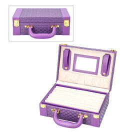Purple Colour Woven Pattern Briefcase Design Double Layer Jewellery Box with Mirror Inside (Size 27.