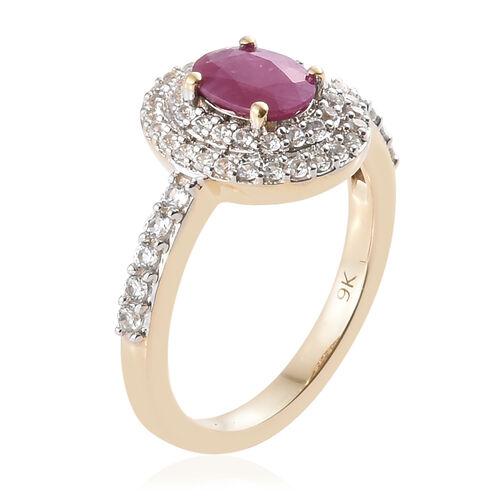 9K Yellow Gold Burmese Ruby (Ovl), Natural Cambodian Zircon Ring 1.500 Ct.