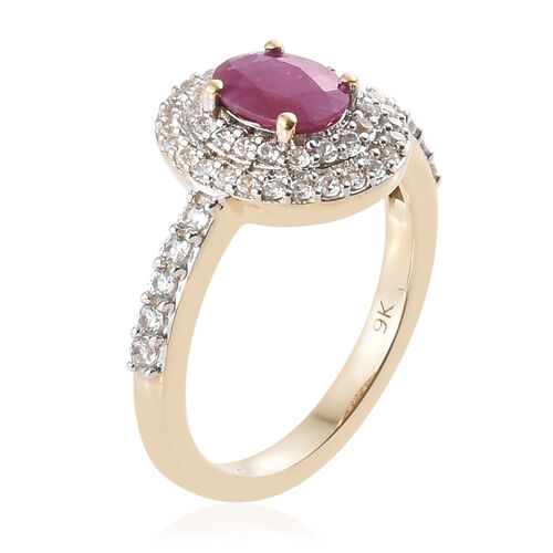 9K Yellow Gold Burmese Ruby (Ovl), Natural Cambodian Zircon Ring 1.500 Ct.