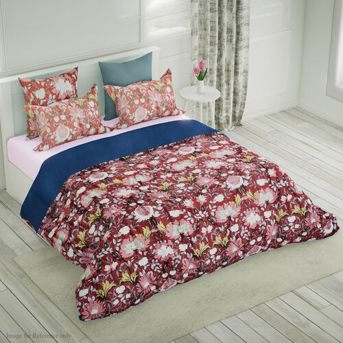 4 Piece Set - Mulberry Silk Quilt with Cotton Printed Cover (200x200cm), 2 Pillow Cases (50x70+5cm)