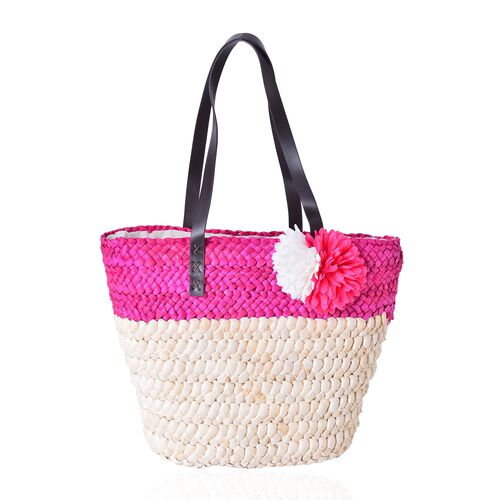 New Spring Collection Hot Fuchsia Straw Woven Large Tote Bag (Size 41.5x30.5x25.5x13.5 Cm)
