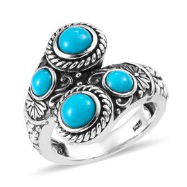 Arizona Sleeping Beauty Turquoise (Rnd) Bypass Ring in Sterling Silver 1.50 Ct, Silver wt 6.45 Gms