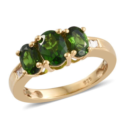 1.75 Ct Russian Diopside and Diamond Trilogy Design Ring in 14K Gold Plated Silver