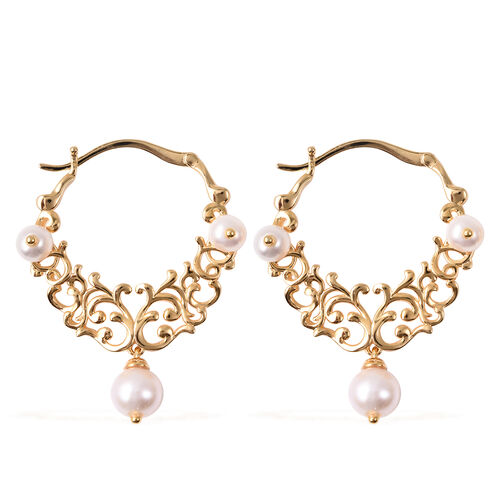 GP Freshwater Pearl and Blue Sapphire Filigree Hoop Earrings in Gold Plated Sterling Silver