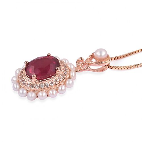 Designer Inspired- African Ruby (OVL 8X6 mm), Fresh Water Pearl and Natural White Cambodian Zircon Pendant with Chain in Rose Gold Overlay Sterling Silver 3.330 Ct.