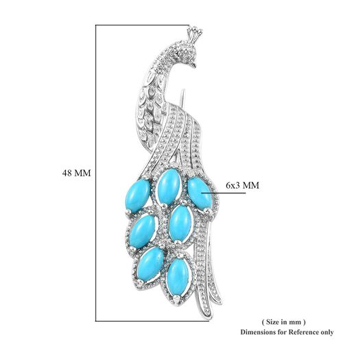 Tucson Close Out-Arizona Sleeping Beauty Turquoise Peacock Brooch in Platinum Overlay Sterling Silver 1.50 Ct, Silver wt 5.00 Gms