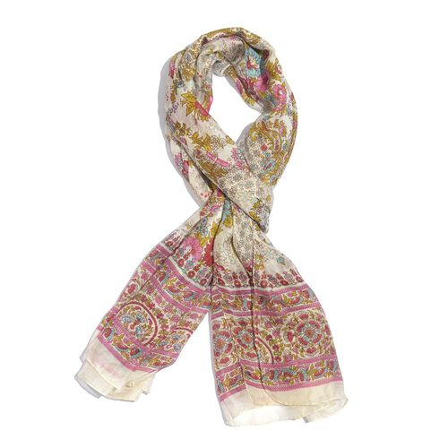 100% Mulberry Silk Pink, White and Multi Colour Handscreen Floral and Paisley Printed Scarf (Size 20