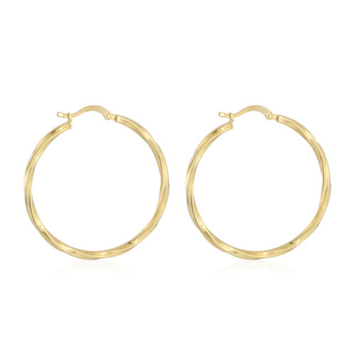 Vicenza Collection- 9K Yellow Gold Twisted Hoop Earrings, Gold wt 3.36 Gms
