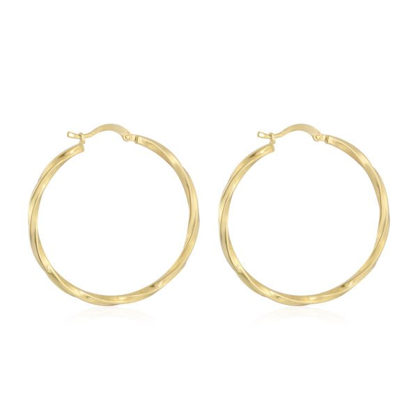 Vicenza Collection- 9K Yellow Gold Twisted Hoop Earring Gold Wt 3.36 Grams