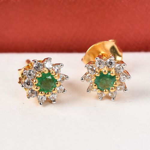 AA Premium Emerald and Natural Cambodian Zircon Stud Earrings (with Push Back) in 14K Gold Overlay Sterling Silver 1.00 Ct.