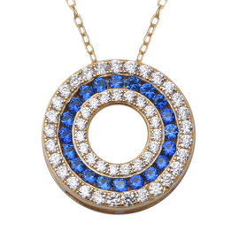 ELANZA Simulated Tanzanite (Rnd), Simulated Diamond Three Row Circle Pendant With Chain (Size 18) in