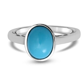 Arizona Sleeping Beauty Turquoise Ring in Rhodium Overlay Sterling Silver 1.60 Ct.