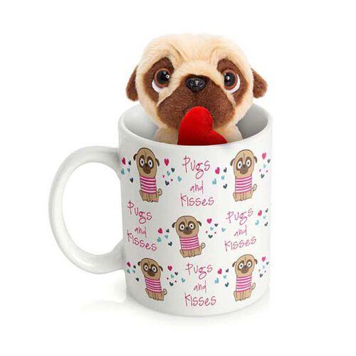 Cream and Chocolate Colour 10 Cm Pug In A Mug Pugsley