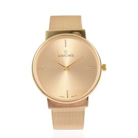 STRADA Japanese Movement Golden Sunshine Dial Water Resistant Watch in Yellow Gold Tone with Chain Strap