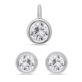 2 Piece Set -  9K White Gold SGL Certified Diamond (G-H/I3) Stud Earrings (with Push Back) and Penda