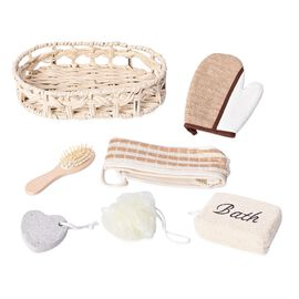 7 Piece Set - Bath Kit in Wooden Basket (Included Chenille Back Scrubber, Wooden Hair Brush, Pumice