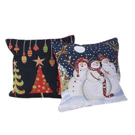 Set of 2 - Christmas Theme Cushion Cover (Size 43x43 Cm) - Red and Multicolour